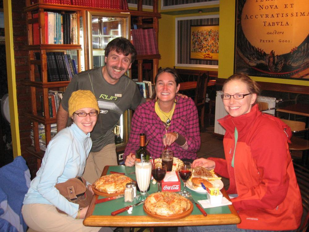 Dinner at 1:00 am in Ushuaia -- a tired and hungry group