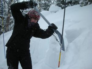 Kassi does a little digging at her avalanche class