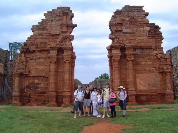 Travel group at the San Ignacio Mission