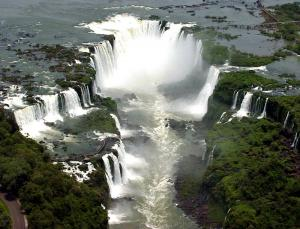 View of the Devil's Throat of Iguazu Falls from a helicopter