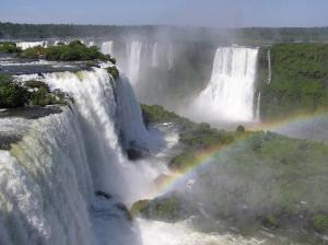 Beautiful rainbow in the mist of Iguazu Falls