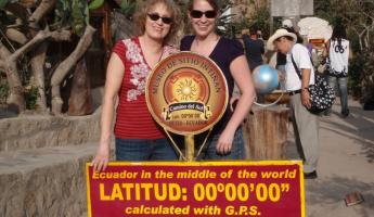 Mom and I standing on either sides of the Equator.