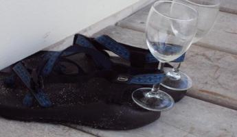mmm...wine and beach shoes