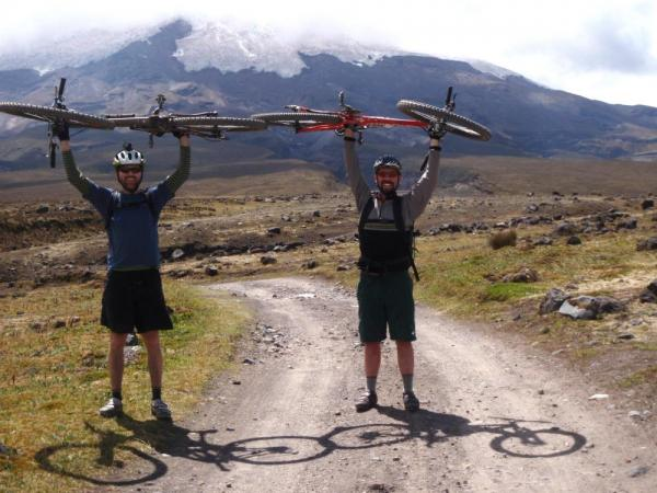 Mountain bikers celebrate on an Ecuador Adventure