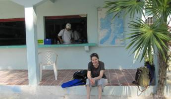 Waiting to dive - Outside of the Belize Diving Services office
