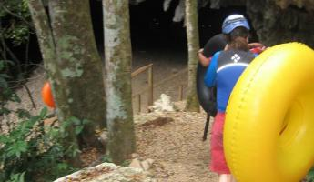 On the way to the put-in for cave tubing at the Jaguar Paw