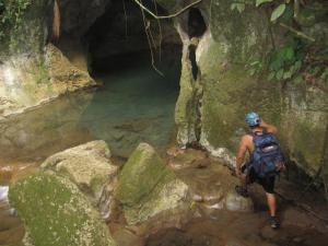 Exploring a cave in the Belizean rainforest