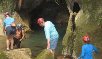 Making our way to the mouth of the cave