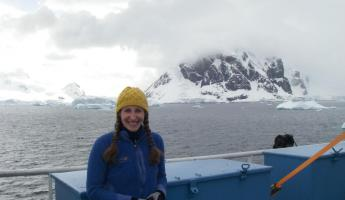 Beth enjoying the sunshine and views of Antarctica