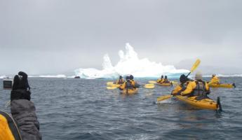 Our first kayaking in Antarctica!!