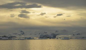Beautiful sun over the Antarctic waters