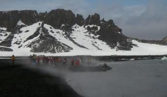 Steam rising from the beach at Deception Island
