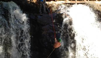 repelling down the waterfalls