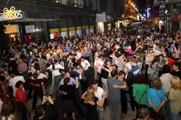 Everyone dances in the streets of Buenos Aires