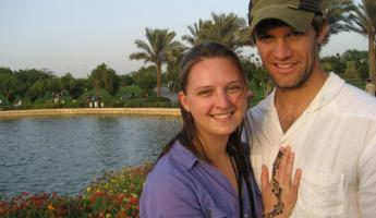 A couple in the park in Egypt.