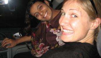 Eva and Kristen in the front seat