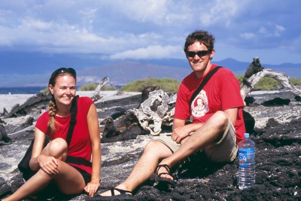 Travelers enjoying a tour of the Galapagos Islands
