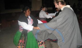 Our host sister teaches Matt traditional Peruvian dances