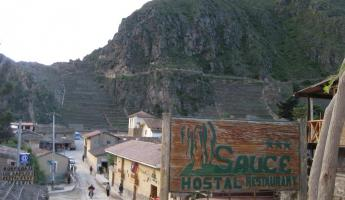 View of Ollantaytambo ruins from el Sauce