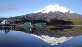 Camping near the base of the Cotopaxi Volcano