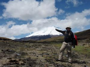 Hiker approaching Cotopaxi Volcano