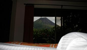 the view from our bed at Arenal Manoa