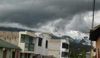Daily rainclouds form over Cotacachi volcano