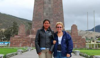 Fanny, the local cabbie and I at Mitad del Mundo
