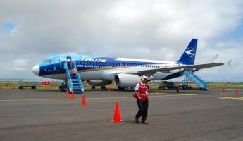 Our plane from Quito arrives in Baltra