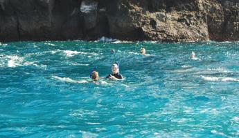snorkeling at Pt. Comorant in the clear blue waters