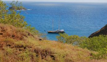 From the top of Frigatebird Hill we see our boat, the Beagle