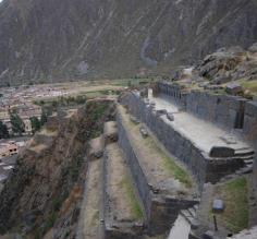 Ollantaytambo ruins and city to the left.