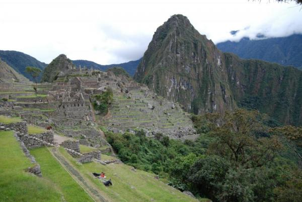 Our very first glimpse of Machu Picchu