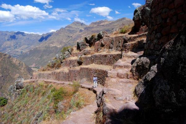 Terraces and mountains in Pisac, Peru