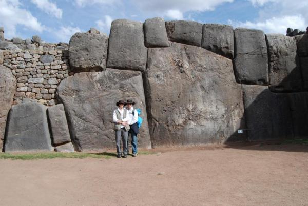 Us in front of huge rock in Sacsayhuaman-Cuzco