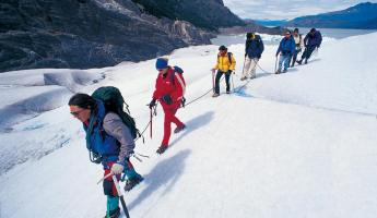 Trekking the icy landscape of a glacier in Patagonia