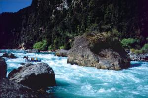 Whitewater rafting Casa Piedra rapid on Chile's famous Rio Futaleufu