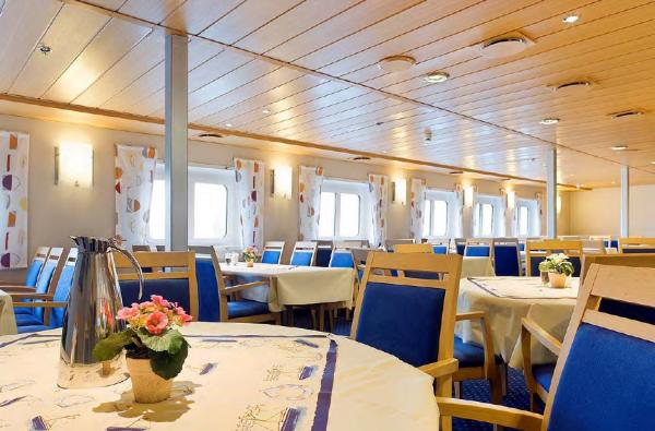 Dining room aboard the ship