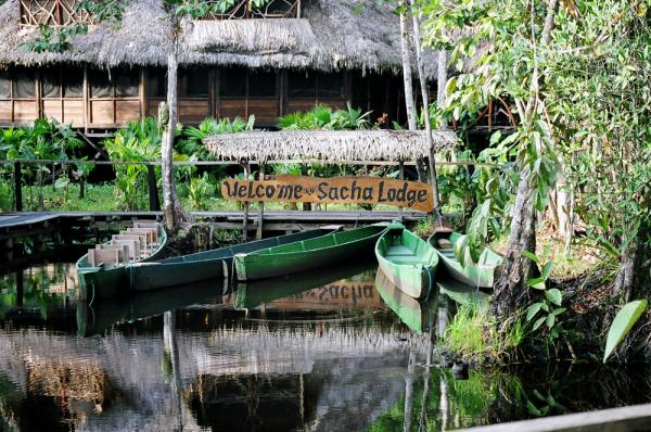 Sacha Lodge greets travelers on a tour of the Amazon