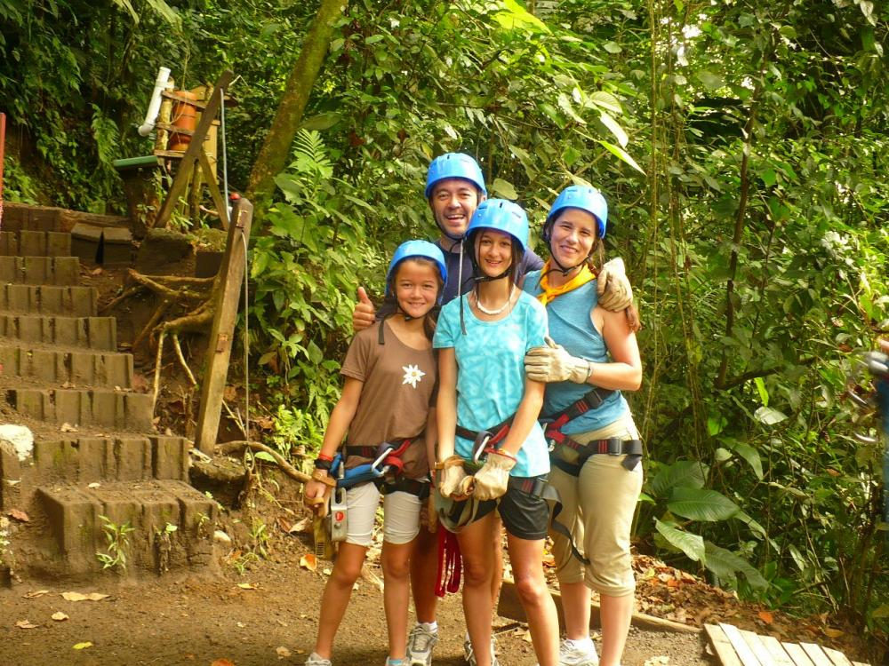 We did it! A happy family after a zip line tour in Costa Rica