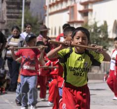 Cusco, a school for boys rehearsing a traditional dance