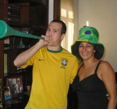 Cheering for Brazil's victory over Chile at the World Cup