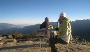 Breakfast at the top of the Inca Trail