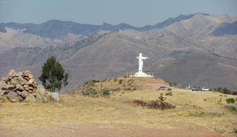 The Jesus statue overlooking Cusco