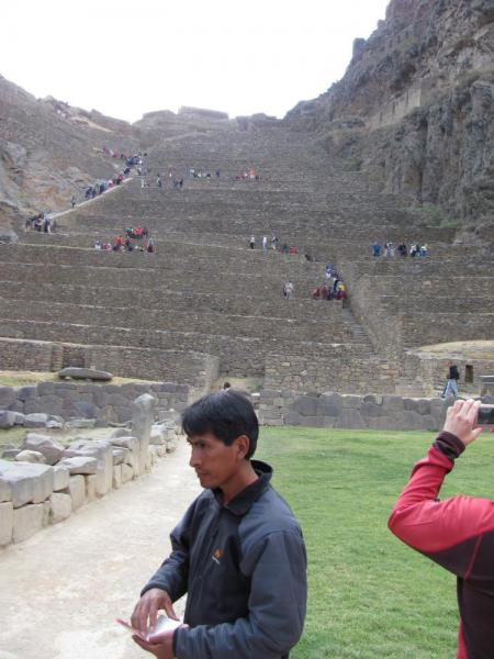 Ollantaytambo ruins with our guide Vidal