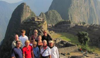 Our group arriving at Machu Picchu