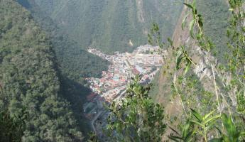 Looking down on Aguas Calientes from Putucusi