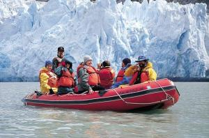 Zodiac excursion to the face of an Alaska glacier