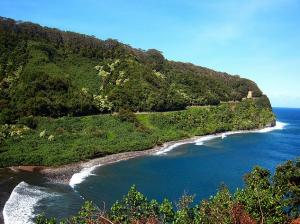 Visits Maui's Black Sand Beach