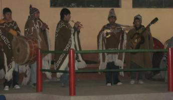 The band on Amantani Island playing traditional music